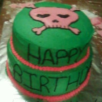 Birthday Cake My niece asked for the colors and the skull......the colors still throw me....lol