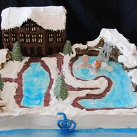Nordic Spa Cake Nordic Spa with the pools and waterfall and cabin. The couple wanted to be in the waterfall!