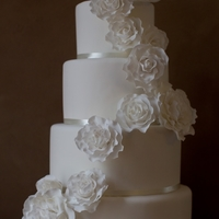 Cascading Sugar Rose Cake   Elegant 4Tier cake with cascading sugar flowers