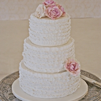 Ruffles Wedding Cake With Sugar Roses