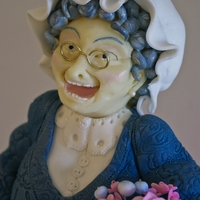 Granny Cake Chocolate Fudge cake with modeling chocolate face