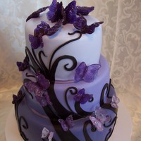 Butterflies And Dreams The cake was decorated with fondant and the butterflies are made of isomalt.