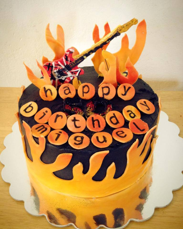 Guitar And Flames Birthday Cake *