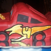 Lightning Mcqueen This I made for my youngest grandson's 4th birthday. Choc. Cake/ Choc. buttercream covered in fondant