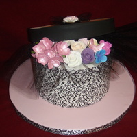 Debi's Birthday This hat box was for my sister's birthday. All chocolate cake with chocolate ganache filling covered in fondant. Sugarpaste flowers...