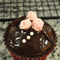 Duff Rose Cupcakes chocolate ganache with small Duff roses