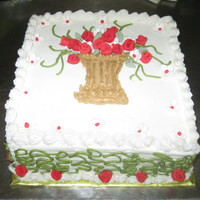 Red/green Square Cake RED FONDANT FLOWERS, BUTTERCREAM CAKE