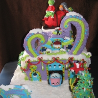 "Whoville Southwest Transmission  I made this ""Whoville Southwest Transmission"" gingerbread house for a local contest. My first time making one and my last...cake..."