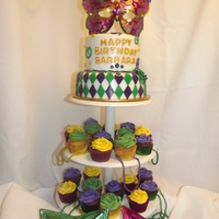 Mardi Gras Cake And Cupcakes