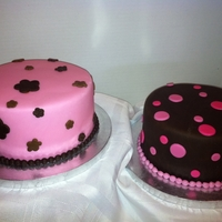 Baby Shower CoEd Baby Shower Brown cake for guys and Pink cake for girls,