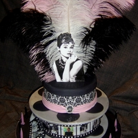 Audrey Hepburn 21St Birthday Cake Two tier cake, edible image film reel photos.