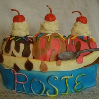 Banana Split  Banana Split cake for my daughter. The letters, spoon, sprinkles and cherries are made from gumpaste. Banana and sauces are made from...