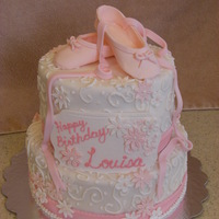 Ballet Cake Cake with a Ballet theme. Slippers and flowers are made of gumpaste.