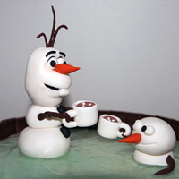 Olaf And Snowfriend From Disney's Frozen Olaf and his snowfriend having some hot chocolate while enjoying the hot tub.