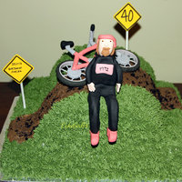 Bike Cake Made this for a friend's 40th. He's really into cycling. The hot pink bike is an inside joke.
