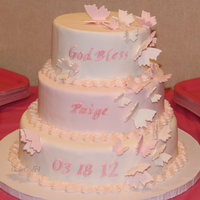 Pink And White Butterfly Cake Made this cake for my daughter's Christening