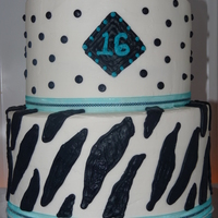 Sweet Sixteen Aqua Black & White Zebra Sweet 16 Birthday cake