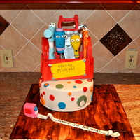 Handy Manny Cake  Handy Manny Cake made for 1 year old, everything is edible except for wodden dowels in cakes and in some of the tools, toolbox is made from...