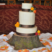 Fall Themed Wedding Cake   My first Wedding cake, and my first all buttercream cake.alot of stress but everyone was happy with it..