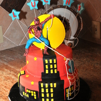 Spiderman Cake   Spiderman Cake made for 3 year old, all edible except for wires on stars.