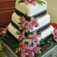 Red Velvet Cake With Marshmallow Fondant Bride Supplied Fresh Orchids This Is My First Wedding Cake And First Time Making And Working Wi  *Red Velvet cake with Marshmallow fondant. Bride supplied fresh Orchids. This is my first Wedding Cake and first time making and working...