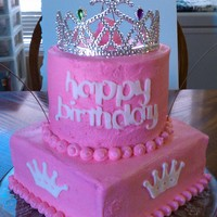 Princess First Birthday Cake Butter Pecan cake with Buttercream Frosting. Happy Birthday words and white crowns are fondant cutter with Cricut Cake.