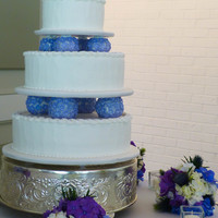 White And Lilac All Buttercream Wedding Cake White and lilac all buttercream wedding cake.