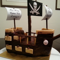 "Pirate Ship Birthday Cake ""Ahoy Matey!""......I made this ship for my son's 6th birthday on Dec 09, 2012 requested by my hero. Told me that he loves..."