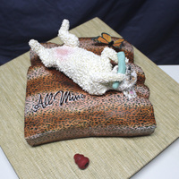 "Dog Cake With Edible Image Butterfly And Printed Icing Sheet Cake by ""Is It Really Cake"" using Icing Image's brand Premium Icing Sheets for the dog bed as well as for the butterfly!"