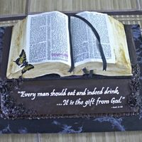 Bible Cake With Printed Icing Sheet This cake by Is It Really Cake was topped off with our Premium Icing Sheets. The verses were printed with edible ink onto the icing sheet...