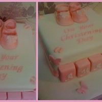 Girls Christening Cake Vanilla christening cake with hand made mary janes