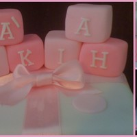 Girls Christening Cake Vanilla, choc n white choc cake tiers, with building blocks
