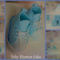 Baby Boys Shower Cake Hand made boots n building blocks. Vanilla cake with raspberry jam and buttercream.