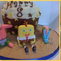 Sponge Bob Giant cup cake and with sponge bob, patrick and Gary