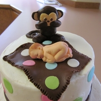 Baby With Monkey I was asked to incorporate this baby mold in with the monkey theme from the baby shower invitations. The cake is done in buttercream and...