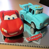 Cruisin Mcqueen And Hot Rod Mater For my son's 4th birthday. All cake and fondant with rice crispy tires.