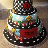 Race Car Cake 3teir cake, off set.