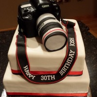 Canon Camera camera body is carved cake & lens is RKT all covered in fondant. Strap is fondant.
