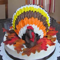 Turkey used Cake Boss design for turkey. added gumpaste airbrushed leaves that I had leftover from a previous cake.