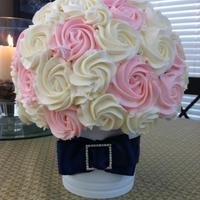 "Wedding Bouquet Cupcake Bouquet 60 Mini Cupcakes arranged on a 6"" Styrofoam Ball. Container was from Ikea. Flavor was lemon cake with Lightly flavored strawberry..."
