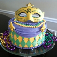 Mardi Gras Mardi Gras birthday cake. Everything is gumpaste including the mask.