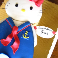 Hello Kitty Sailor This was for a Navy grad who LOVES hello kitty! Cake was carved and the flavor was dark choc with chai buttercream and dark choc with...