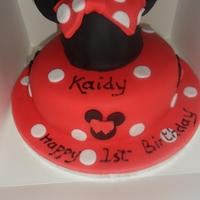 Minnie Mouse RICH CHOCOLATE SPONGE COVERED IN RED FONDANT .. HATS A CAKE TOO