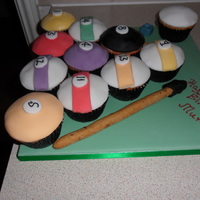 Billiard Ball Cupcakes On A Green Cake Board And Bread Sticks Decorated To Look Like Cues billiard ball cupcakes on a green cake board and bread sticks decorated to look like cues