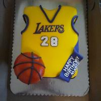 Lakers Jersey Birthday Cake Lakers Jersey Fondant covered cake