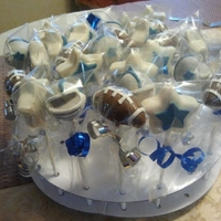 Dallas Cowboys Football Cake Pops The stars are vanilla cake and the footballs and helmets are chocolate cake. The decorations are fondant.