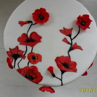 Hand Painted Poppy Cakes With 3D Poppies Hand painted Poppy cakes with 3D poppies