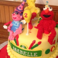 Sesame Street Cake Sesame Street themed birthday cake featuring Elmo, Abby Cadabby and Big Bird. All fondant with vanilla buttercream atop of a butter yellow...
