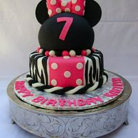 "Miss Minnie This cake was a combination of fondant and buttercream. The bottom tier is an 8"" round that is 3"" deep. The ball on top was made..."