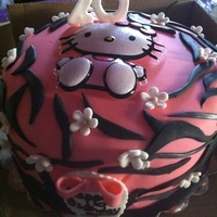 Hellokitty pink fondant with my first attempt at zebra print